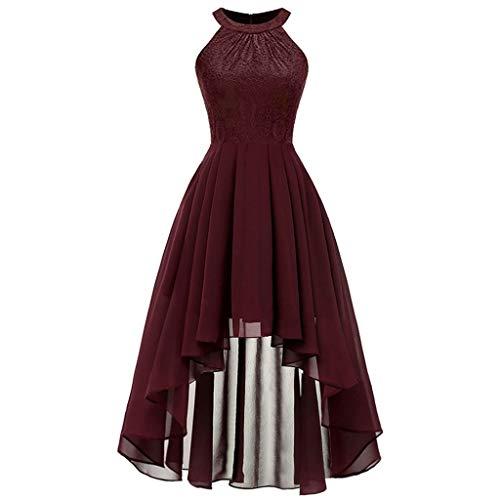 MAYOGO Vintage Elegant Kleid aus Spitze Damen Unregelmässig Vokuhila Kleid Vorne Kurz Hinten Lang,Kleid zur Hochzeit Gast/Brautjungfer,Langarm   Kurzarm   Ohne ärmel