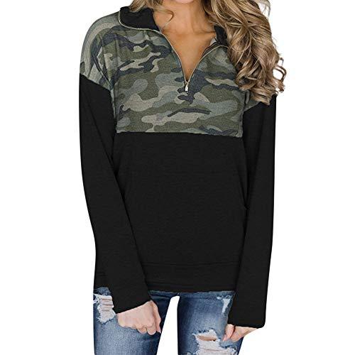 TOPKEAL Camouflage Printed Langärmeliger Hoodie Pullover Damen Herbst Winter Kapuzenpullover Sweatshirt Winterpullover mit Reißverschluss Jacke Mantel Tops Mode 2019 -