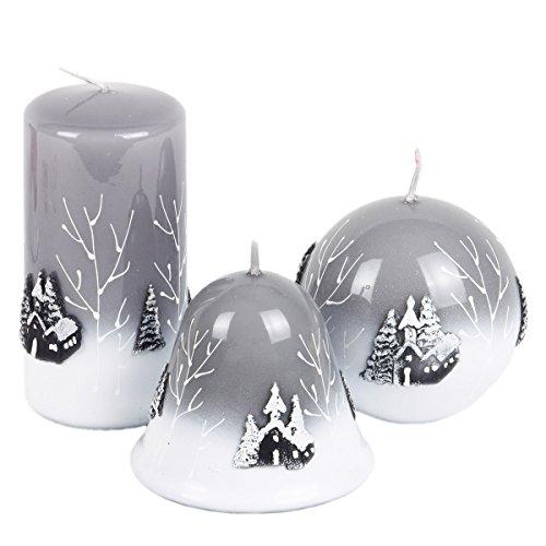 Juego de 3velas velas de Adviento Navidad Noche de Velas Sagrada gris