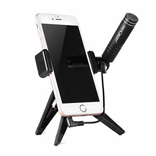 K&F Concept - Micrófono Condensador con Soporte Trípode (Reducción de Ruido NCR, Manos Libres. USB Externo) Micrófono Portátil para iPhone Samsung Huawei Xiaomi