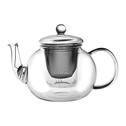 Théière en verre 3 en 1 - grande taille pour sachets de thé/thé en vrac/feuilles de thé fines