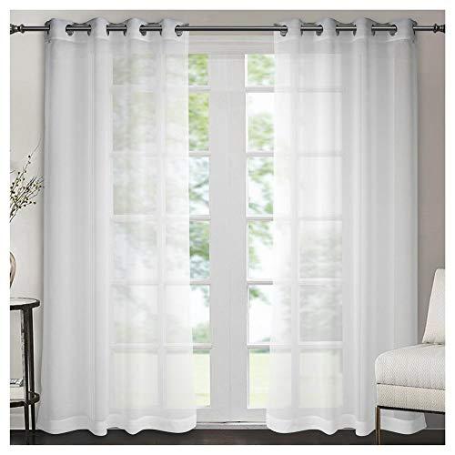 Singingloy Halbtransparent Gardinenschals mit Raffhalter 2er Set 140x245cm, Weiß Voile Vorhang mit Schöner Optik für Wohn-, Schlaf-, Kinderzimmer (Weiß)