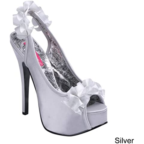 Bordello TEEZE-56, Sandali donna Argento Silver Satin 6 (6 Sexy Silver Shoe)