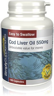 SimplySupplements Cod Liver Oil 550mg|Pure fish oil from Healthy Sustainable Fisheries|2x 180 Capsules
