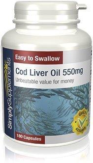 Olio di fegato di merluzzo 550 mg - 360 capsule - 6 mesi di fornitura - Con Omega 3 per la salute cardiovascolare - SimplySupplements