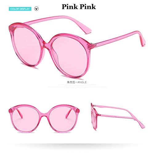 Taiyangcheng Cat Eye Sunglasses Women Übergroße Klare Linse Sonnenbrille Candy Farbe Round Shad,rosa rosa