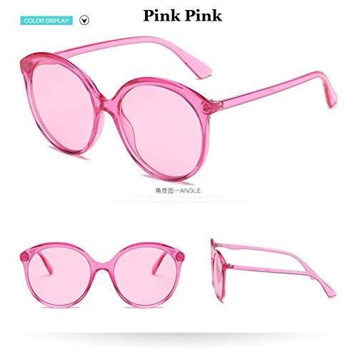 Taiyangcheng Cat Eye Sunglasses Women Übergroße Klare Linse Sonnenbrille Candy Farbe Round Shad,rosa rosa