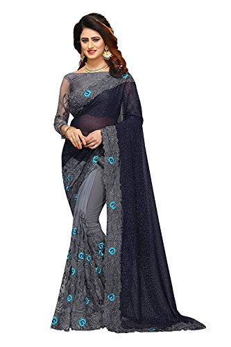 Anubhuti Sarees Women\'s Georgette & Net Saree With Blouse Piece (2017_special Navy Blue)