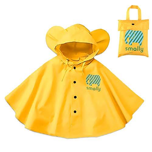 Gudotra Pioggia Incappucciati Antipioggia Poncho con Cappuccino Giacche per Pioggia Giallo Unisex per Bambini 1 5 Anni