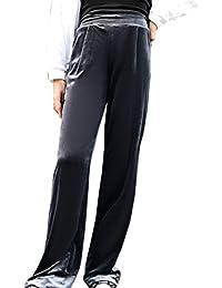 f71acd3a8654 Femmes Large Pantalon en Velour Élastique Taille Pantalon Palazzo Chaud et  Stretch