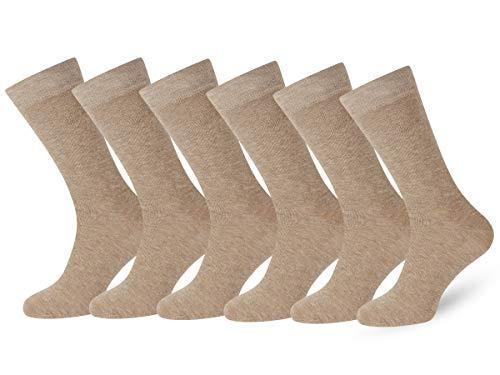 Easton Marlowe Premium Socken 6 Paar Gekämmte Baumwolle Herren Damen #3-7, Sand/Beige khaki Flat Knit, einfarbig - 39-42 EU Schuhgröße -