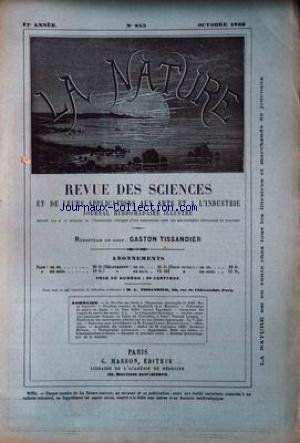 NATURE (LA) [No 853] du 05/10/1889 - LE PAVILLON DES FOREST A L'EXPOSITION UNIVERSELLE - DE NANSOUTY - ERUPTION BOUEUSE DE KANTZORIK - ASIE MINEURE - LE PAPIER AU JAPON - LA TOUR EIFFEL - TISSANDIER - ANCIENS COSTUMES POPULAIRES FRANCAIS AU PALAIS DU TROCADERO - LANDRIN - LES MOUVEMENTS CELESTES PAR LES LOIS ELECTRO-DYNAMIQUES - ZENGER - NOUVEAUX JEUX SCIENTIFIQUES DE M. E. LUCAS -