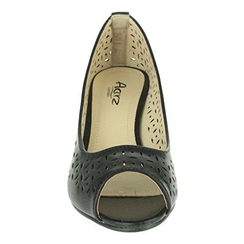 Donne LE Signore Dettaglio del taglio Peep Toe Tacco a cuneo Ufficio Lavoro Casuale Festa Sera Sandali Scarpe Taglie Nero