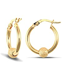 Jewelco London Ladies 9ct Yellow Gold 5mm Frosted Ball 2mm Hoop Earrings 16mm