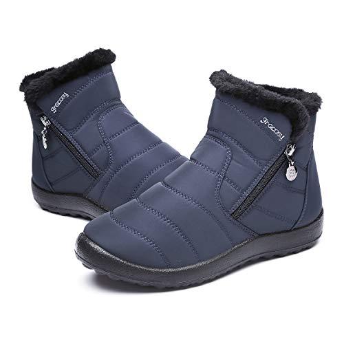 Gracosy Bottes de Neige Femmes Filles, Chaussures Ville Hiver Bottines de Pluie Imperméable avec Fourrure à Talons Plats Boots Intérieur Fourrée Chaude Confortable Zippé - Noir Roug