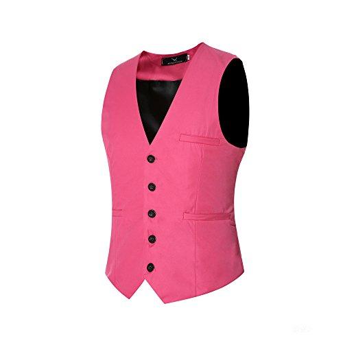 Herren Anzugweste Elegant Basic Weste Stilvoll Vest Regular Design Rosa