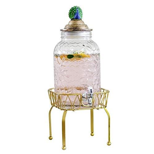 DLINMEI Peacock Cover Getränkespender aus gehämmertem Glas auf Ständer mit auslaufsicherem Zapfen, 3800 ml Klarglas (Color : Gold, Size : Style c) (Wasser-krug-spender Mini)