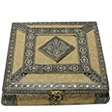 LONEKART Handcrafted Wooden German Oxidised Square Design Dry Fruit Box With 4 Columns (8x8x2 Inch, German Oxodised Mukhvas Box)