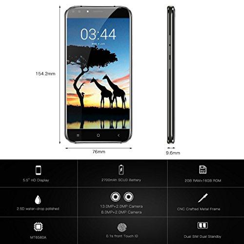OUKITEL U22 - 3G Smartphone Libre ( Pantalla 5,5 pulgadas HD IPS, Android 7.0 con 4 cámaras: 13MP + 2MP traseras, 8MP + 2MP delanteras, 2GB RAM + 16GB ROM, lector de huellas dactilares rápido, dual sim), Negro
