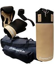 ScSPORTS Boxsack-Set, Boxsack gefüllt 12 kg, Boxhandschuhe, Boxbandagen, Inklusive Tragetasche, Boxsackhalterung Nylongurte mit Karabiner, 70 x 25 cm, Kunstleder, beige / schwarz
