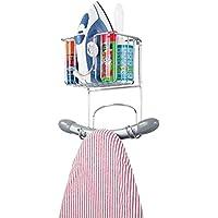 mDesign Colgador de pared pequeño para tabla de planchar – Estante de pared para planchador con cesta para plancha y demás – Compacto soporte para plancha en metal para lavadero – plateado