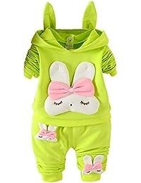 Wongfon Mädchen Kaninchen Muster Langarm Set Herbst Winter mit Kapuze Pullover Cute Set Langarm + Hosen Zweiteiler