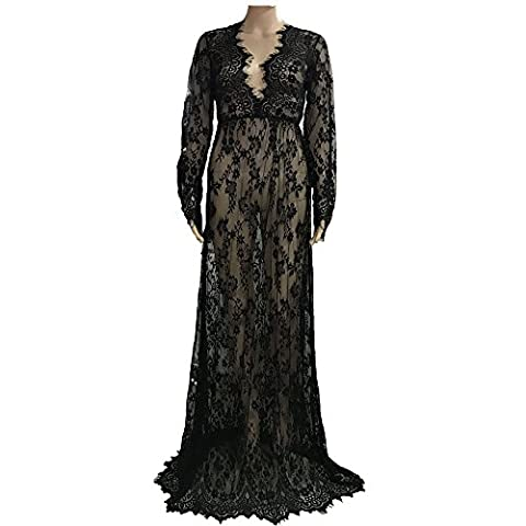 Sexy Deep V-Neck Long Sleeve Lace Beach Dress See-through Maxi Dress Plus size 4XL