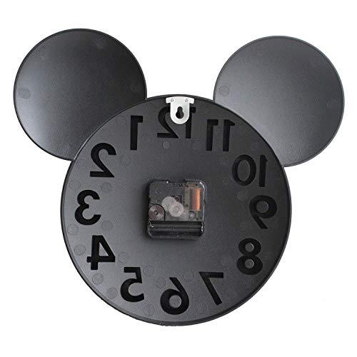 41j8hUZF VL - Sanch Ancha Mickey Mouse - Reloj de Pared con Pilas, para decoración del hogar, para habitación de niños, 3D, 3D, 3D, 31,75 cm, Color Negro