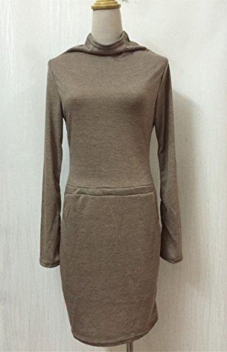 Femmes Mi-Longue Robe Manches Longues Mode Robe de Soirée Cocktail Kaki