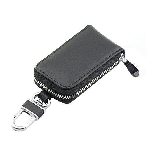 Genda 2Archer Unisex auto chiave caso cuoio Con cerniera portafoglio (Nero)