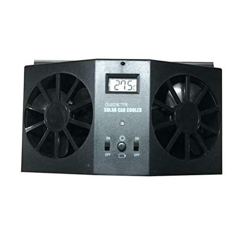 Preisvergleich Produktbild ASOSMOS Auto Abluftventilator,  Solar Auto Abgaswärme Ventilator Double Air Outlet Ersatz für den Sommer (Schwarz)