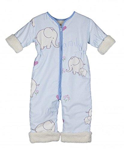 Babies & Kids - Öko-Schlafoverall mit Ärmeln My Family hellblau Baumwollplüsch, Size / Größe:120 cm (5-7 Jahre)