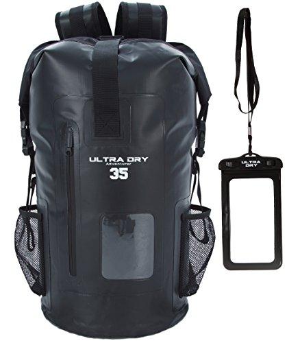 Mochila seca a prueba de agua, 35 l, saco con bolso para mantener seco el teléfono, perfecto para paseos en bote, kayak, piragüismo, pesca, canotaje, natación, camping, snowboarding., color negro, tamaño 35 L