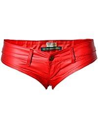 YiLianDa Damen Hotpants Booty Shorts Unterwäsche Wetlook Lack Leder Design Lederoptik
