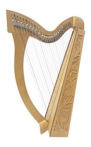 Irisch keltische Harfe 27 Saiten incl Tasche mit Halbtonklappen, Buchenholz