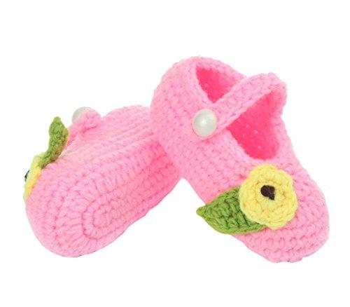Bigood 1 Paar Strickschuh One Size Strick Schuh Baby Unisex süße Muster 11cm Blüte Pink A Pink A