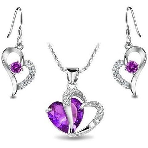 Tej - Juego collar dije y aretes chapeado rodio forma corazón circonia cúbica cz incluyendo cadena singapore 18 pulgadas 2154, color