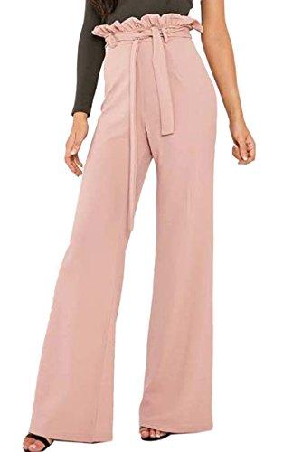 Angashion Damen Hosen Elegant High Waist Stretch Lange Weites Bein Hosen Pants Casual Streetwear Hosen mit Tunnelzug Rosa S
