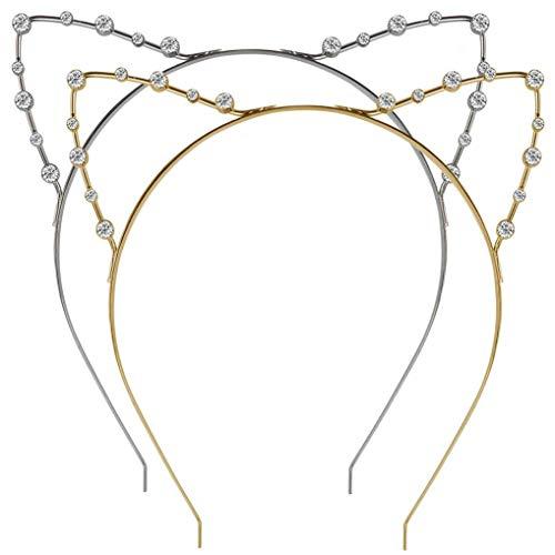 Ishua 2 Stücke Katze Ohr Headwears Metall Strass Stirnband Haarband mit Kristall Haarschmuck für Kinder Erwachsene Mädchen Frauen für Halloween Kostüm Party Maskerade (Golden & Silber)