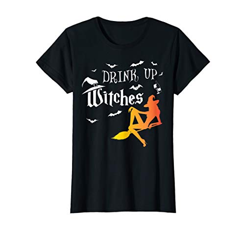 Damen Drink Up Witches Funny Halloween Wine Lover Gift broomstick  T-Shirt