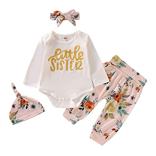 Toddler Kids 4Pcs Suit Baby Girls Long Sleeve Letter Romper+Floral Pants+Hat+Headbands Set