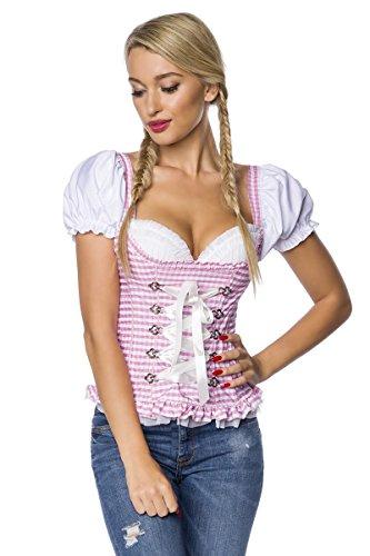 DIRNDLINE Trachtenmieder mit eingearbeiteten Push-up Cups und Rüschenbesatz - mit Zierschnürung und Puffärmelchen - A7O031, Größe:38;Farbe:rosa