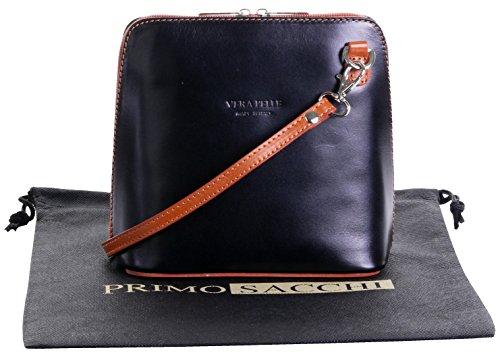 In pelle italiana, Small/Micro croce corpo borsa o borsetta borsa a tracolla.Include una custodia protettiva di marca. Black & Tan