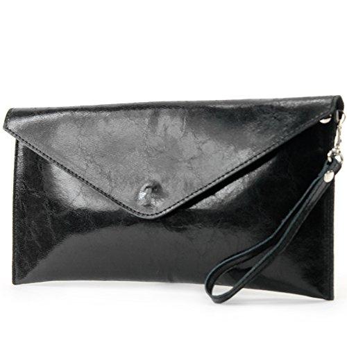 modamoda de - T106 - ital Clutch/Abendtasche aus Wildleder, Farbe:T106S-Glattleder - Schwarz Metallic Tasche Handtasche