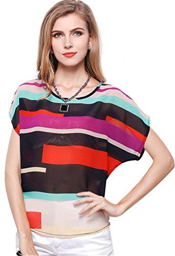 SZIVYSHI Kurzarm Batwing Dolman Sleeve Colorful Blockfarben Kontrastfarbe Gestreiftes Transparentes Chiffon Blouse Bluse Shirt Hemd T-Shirt Oberteil Top 3XL (Dolman Top Boho Sleeve)