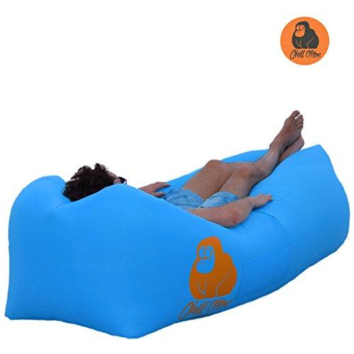 ChillMoe Luftsofa air lounger Sitzsack aufblasbar Liegesack air sofa outdoor (blau)