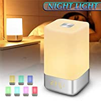 6SlonHy Digital Dimmable Rechargeable LED Table Wake up Night Light Bedside Alarm Clock