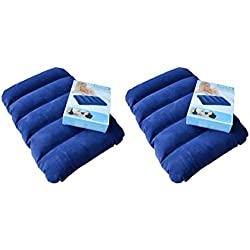 Buyerzone Blue Velvet Air Inflatable Travel Pillow(Set Of 2)