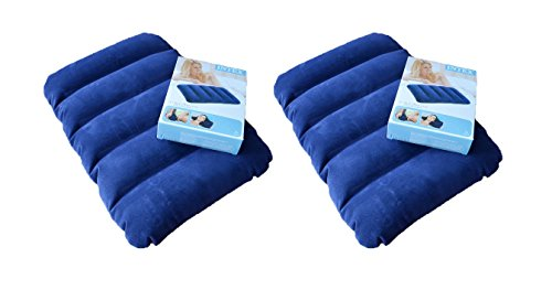 Buyerzone Blue Velvet Air Inflatable Travel Pillow(Set Of 2)