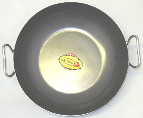 """Asian Indian Curry/Balti Black Iron Rustic Wok/Karahi Cooking/Serving With stainless Steel Handle (7.5"""")"""